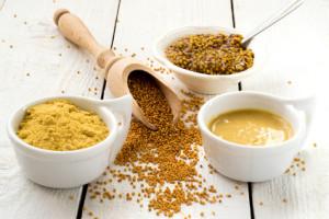 Senf in verschiedenen Zuständen (Natur, Pulver, Grob und als Würzpaste)
